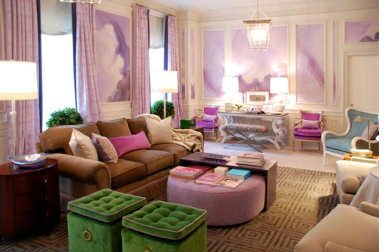 watercolor-mural-wallpaper-wall-covering-purple-green-living-room
